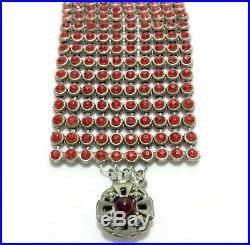 ART DECO Garnet Red Glass & Crystal Rhinestone Silver Vtg Cuff Bangle Bracelet