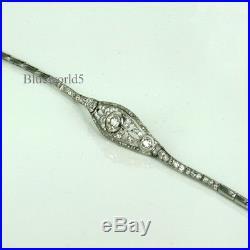 ART DECO MOissanite BRACELET SET WITH SIM DIAMONDS IN 925 STERLING SILVER 7INCH