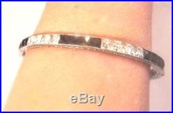 ART DECO Sterling+Channel Set Black &White Crystal Bracelet1920s Vintage Bangle