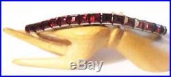 ART DECO Sterling RED Crystal Channel Set BraceletVintage 1920s-30s Tennis Line