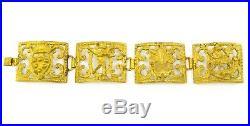 ART DECO VICTORIAN Chunky Antique Vintage Gold Byzantine Wide 4 Panel Bracelet