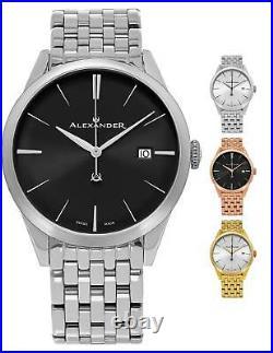Alexander Men's Swiss Made Dress Watch Sunburst Dial Stainless Steel Bracelet