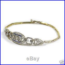 Antikes Art Deco Saphir Diamant Armband 750 Gold & Platin um 1910/15 Bracelet