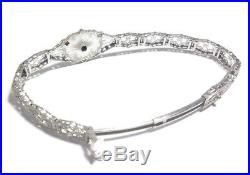 Antique 10k Art Deco White Gold Diamond Filigree Bracelet Intricately Etched