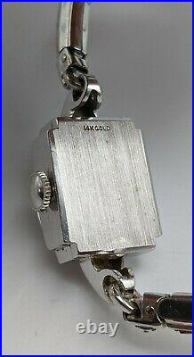 Antique 14k White Gold Hamilton Diamond Cocktail Watch Art Deco 5.5 Bracelet
