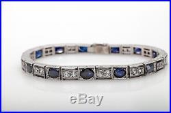 Antique 1920s $15,000 20ct Natural Blue Sapphire Platinum ART DECO Bracelet 26g