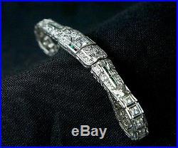 Antique 1920s Vintage Art Deco Diamond Emerald Platinum Bracelet 2.13CT