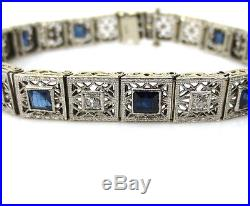 Antique Art Deco 0.50ct Old Mine Cut Diamond & Sapphire Filigree 14K Bracelet