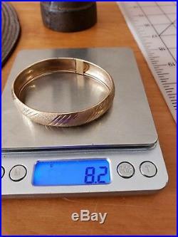 Antique Art Deco 10k Solid Gold Bangle Bracelet 8.2g Unique Clasp wide, size 7