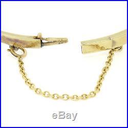 Antique Art Deco 14K Gold & Platinum Sapphire Diamond Snake Bangle Bracelet