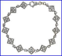Antique Art Deco 14K White Gold. 85ctw Diamond Cocktail Bracelet 11.1 Grams 7 L