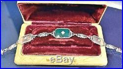 Antique Art Deco 14K White Gold Chrysoprase Rock Crystal Diamond Bracelet 7 1/4