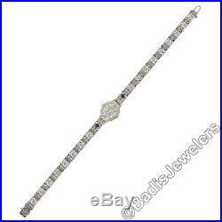 Antique Art Deco 14K White Gold Diamond Sapphire Filigree Etched Belly Bracelet