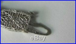 Antique Art Deco 14K White Gold Synthetic Sapphire Filigree Bracelet 6.75 Fine