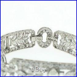 Antique Art Deco 14.5Ct VVS1 Marquise Round Diamond Bracelet 14k White Gold Over