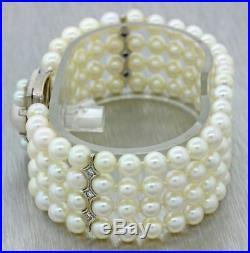 Antique Art Deco 14k Solid White Gold. 60ct Diamond 6mm Pearl 4 Row Bracelet