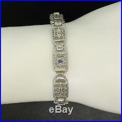 Antique Art Deco 14k WG Platinum Top Round Sapphire & Diamond Filigree Bracelet