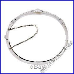 Antique Art Deco 14k White Gold 2.25ctw Diamond Filigree Hinged Bangle Bracelet