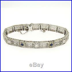 Antique Art Deco 14k White Gold. 72ctw Diamond Sapphire Etched Filigree Bracelet