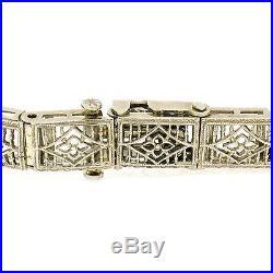 Antique Art Deco 14k White Gold Camphor Glass Diamond Emerald Filigree Bracelet