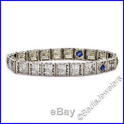 Antique Art Deco 14k White Gold Diamond Sapphire Etched Line Filigree Bracelet