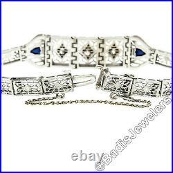 Antique Art Deco 14k White Gold Euro Diamond & Sapphire Filigree Chain Bracelet