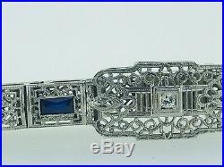 Antique Art Deco 14k White Gold Sapphire and Diamond Filigree Bracelet 7'' 14g