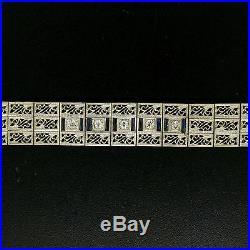 Antique Art Deco 14k White Gold Wide 3 Row Filigree Diamond & Sapphire Bracelet