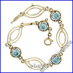 Antique Art Deco 14k Yellow Gold 5.00ctw Round Blue Zircon & Open Link Bracelet