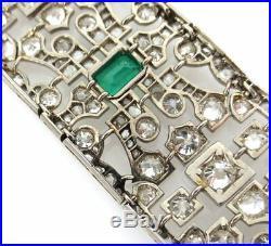 Antique Art Deco 15ct Emerald & 10ct Old Mine Cut Diamond Platinum Wide Bracelet