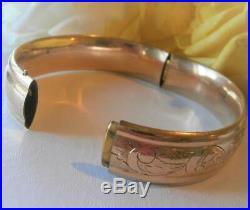 Antique Art Deco 1920's Gold Gf Wide Forget-me-not Flower Domed Hinged Bracelet