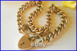 Antique Art Deco 1920's Rose Gold Rg Curb Link Heart Padlock Charm Bracelet