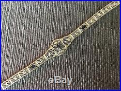 Antique Art Deco 1930's 10k Solid White Gold Filigree Bracelet-sapphires-7 Ins