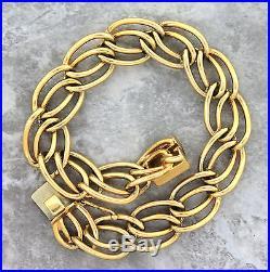Antique Art Deco 1930s Estate 14K 585 Yellow Gold Chain Link Charm Bracelet