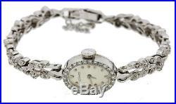 Antique Art Deco 1940's LeCoultre 14k White Gold. 90ctw Diamond Bracelet Watch