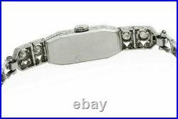 Antique Art Deco 2.5tcw Diamond Platinum & 14K Ladies Watch Tennis Bracelet Band
