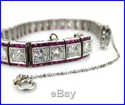 Antique Art Deco 9.0ct Old Mine Cut Diamond & 6.5ct Ruby Platinum Bracelet