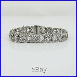 Antique Art Deco 9.50ct Old Cut Diamond & Emerald Platinum Filigree Bracelet