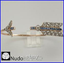 Antique Art Deco Arrow Bracelet Bangle Rose Cut Diamonds Square Sapphires 18k Ro