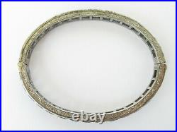 Antique Art Deco Diamonbar La Gloria Sterling Silver Sapphire Bangle Bracelet