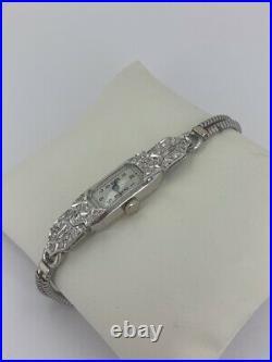 Antique Art Deco Diamond Ladies Cocktail Watch in Platinum And 9ct Gold Bracelet