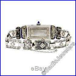 Antique Art Deco Diamond Sapphire Watch Platinum Case & 14k White Gold Bracelet