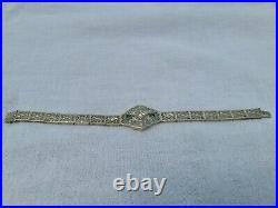 Antique Art Deco Diamond and Emerald Bracelet Platinum and 14K White Gold