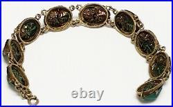 Antique Art Deco Egyptian Revival Natural Genuine Beetle Scarab Brass Bracelet