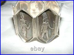 Antique Art Deco Egyptian Revival Silver Pharaoh Bracelet Bangle Original Box