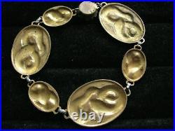 Antique Art Deco Egyptian Revival Snake Flower Chain Whimsical Gothic Bracelet