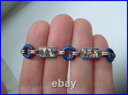 Antique Art Deco Egyptian Silver Enamel Bracelet c1920