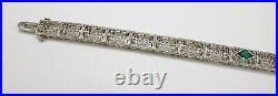 Antique Art Deco Era 10K White Gold Diamond Green Stone Filigree Tennis Bracelet