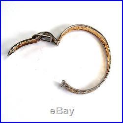 Antique Art Deco Filigree Buckle Bracelet Bangle PSCO PS CO 1930s Rhodium Gold