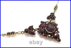 Antique Art Deco Gold Plated Rose Cut Bohemian Garnet Lavalier Necklace